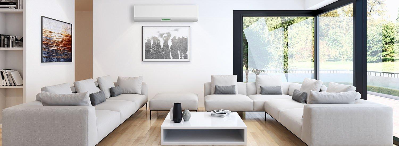 Klimaanlage im Wohnzimmer an der Wand