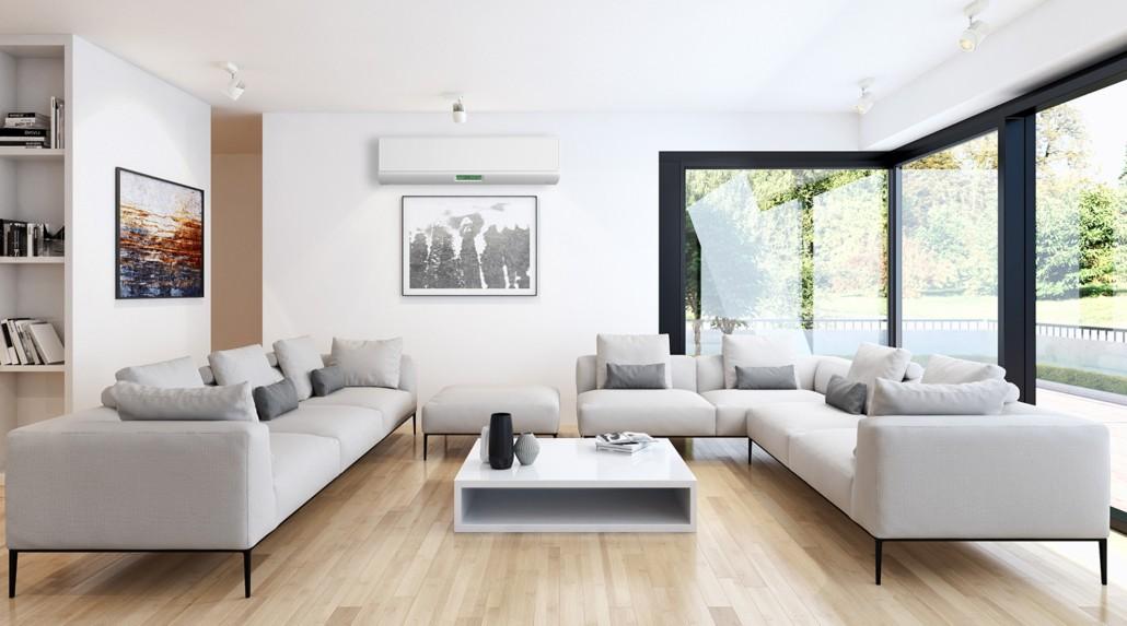 Wandgerät Klimagerät-Splitanlage im Wohnzimmer hängend